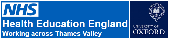 Logos: NHS - Health Education England - Working across the Thames Valley, and University of Oxford