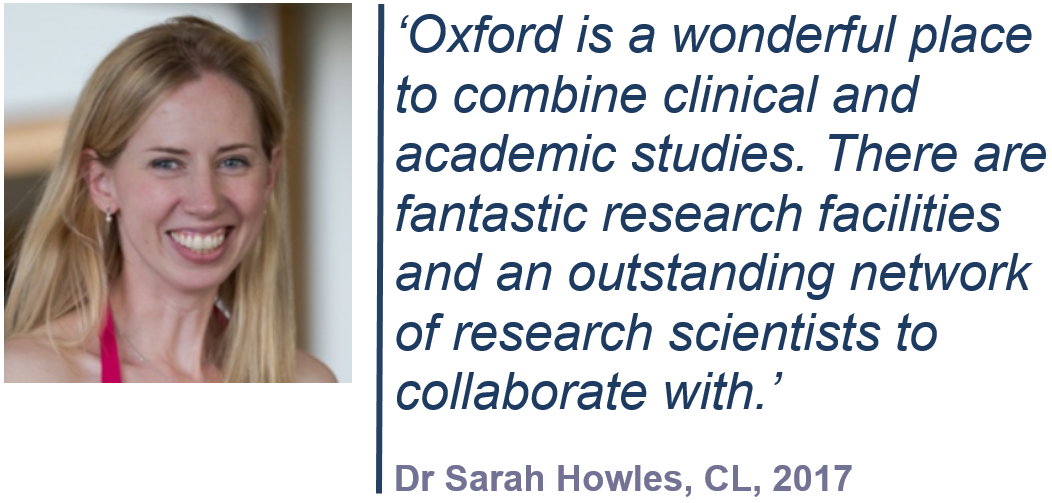 'Oxford is a wonderful place to combine clinical and academic studies. There are fantastic research facilities and an outstanding network of research scientists to collaborate with'. Dr Sarah Howles, CL, 2017.